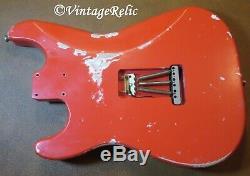 Aged RELIC loaded nitro Stratocaster body LIGHT alder Fender'65 pups FIESTA RED