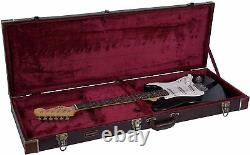 Crossrock Hard Case Fits Fender Telecaster & Stratocaster Electric Guitar, Brown