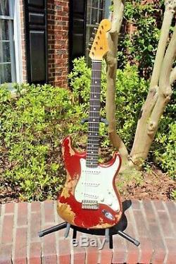 Fender Custom Shop'62 Stratocaster Custom Super Heavy Relic Aged Red Sparkle
