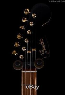 Fender LTD Mahogany Blacktop Stratocaster HHH Olympic White Gold Hardware (249)