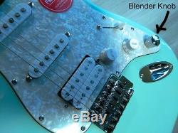 Fender Squier Stratocaster Guitar TurboCharged with Blender MOD Seafoam Strat HSS
