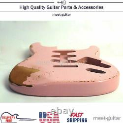 For Fender Stratocaster Electric Guitar Body Vintage Pink SSS Replace Relic USA