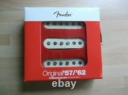 Genuine fender stratocaster 57/62 pickup set, aged white covers p/n 099-2117-000