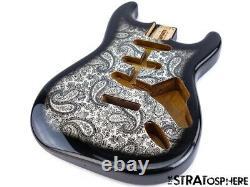 NEW Fender Lic Stratocaster BODY for Fender Strat Guitar Black Paisley SBF-BKP