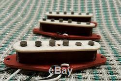 Red Bobbin Fullerton Style Pickup set for Fender Strat