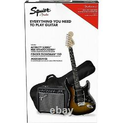 Squier Stratocaster Electric Guitar Pack with Fender Frontman 10G Amp Black