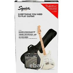 Squier Stratocaster LE Guitar Pack with Fender Frontman 10G Amp Olympic White