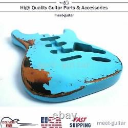Vintage Bule Electric Guitar Body For Fender Stratocaster SSS Replace Relic USA