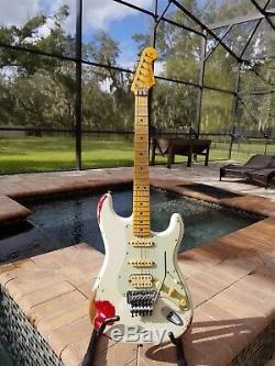 2014 Fender Custom Shop White Lightning Stratocaster Relic Hss Floyd Rose