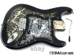 2020 Chargé Fender Limited Edition Noir Stratocaster Paisley Strat Corps