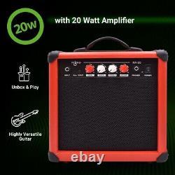 39 Pouces Guitare Électrique Et Amplificateur Kit Complet Débutant Set Rouge