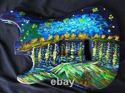 Aulne De L'amérique Du Nord Strat Sss Stratocaster Guitar Corps Peint À La Main 1,83kg