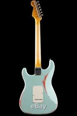 Fender Custom Shop 1960 Stratocaster Relic Lourd Sonic Bleu Sur Fiesta Red