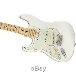Fender Stratocaster Joueur Gauchers Guitare Électrique, Érable, Blanc Polaire