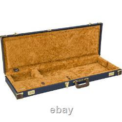 Nouveau Fender Classic Wood Guitar Hard Case Stratocaster Telecaster, Bleu Marine
