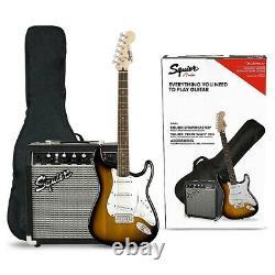 Squier Stratocaster Kit De Guitare Électrique Avec Fender Frontman Amp Brown Sunburst